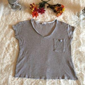 Zara Trafaluc Short Sleeve Gray Textured T Sz L